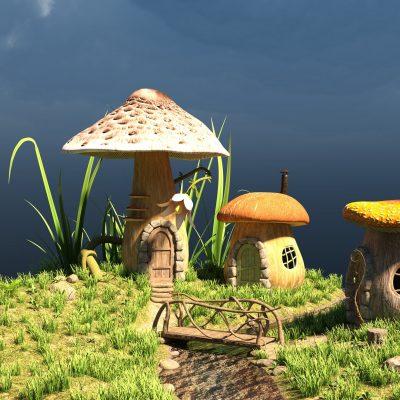 Pilze als Häuser